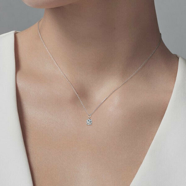 """Buy 1 Ct Round Brilliant Cut Solitaire Pendant Solid 14k White Gold 16""""+2""""  Necklace"""