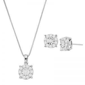 Buy 1 ct Diamond Halo Wheel Pendant & Earring Set in Sterling Silver