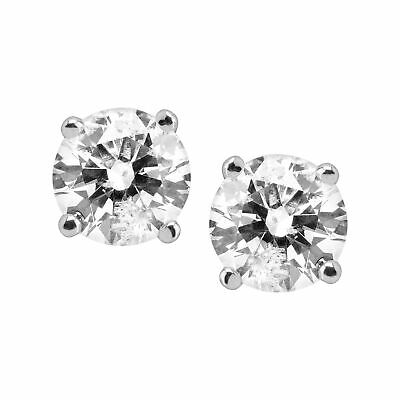 Buy 1 ct Round Diamond Stud Earrings 14K White Gold (1 ct, I Color, I2-I3 Clarity)