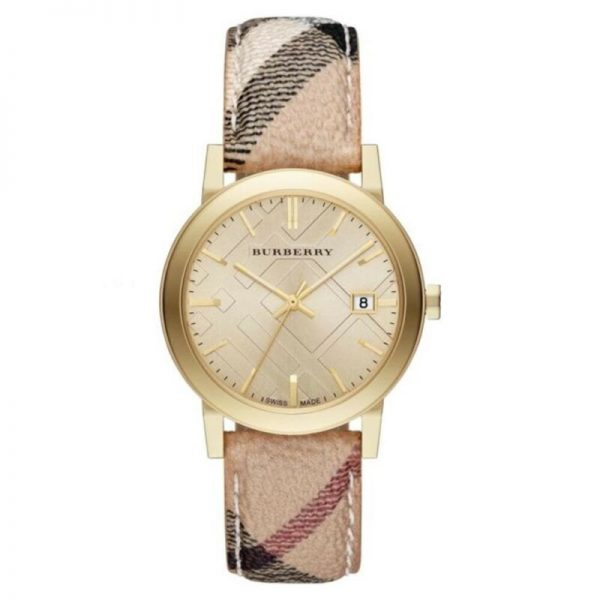 Buy 100% New Burberry BU9026 The City Champagne Dial Leather Women's Watch 38mm Case
