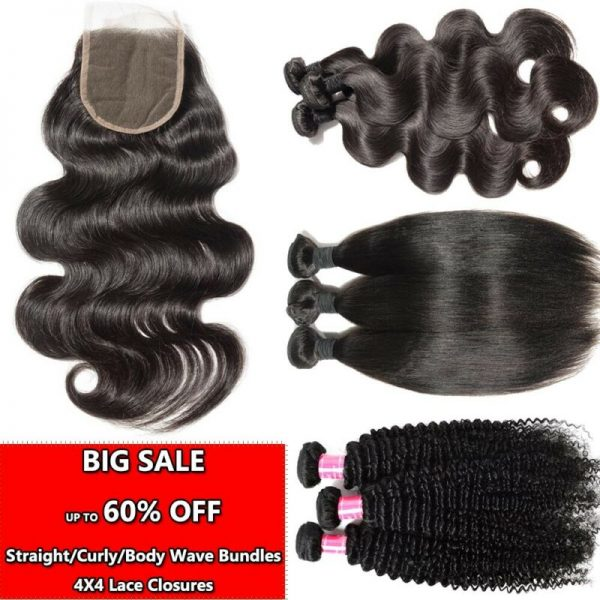 Buy 100% Unprocessed Human Hair 1/3/4Bundles or with closure Straight/wave/Curly