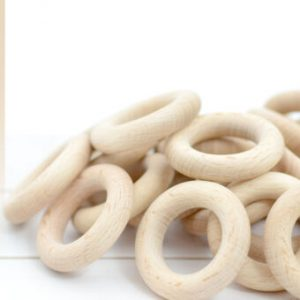 Buy 100 Wooden Teething Rings 45mm certified EN 71-3, 71-1 made in Europe, WHOLESALE