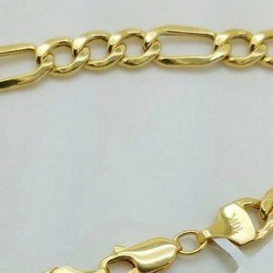 """Buy 10K Solid Yellow Gold Figaro Chain Link Pendant Necklace 16"""" 18"""" 20"""" 22"""" 24"""" 30"""""""