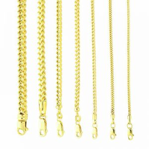 """Buy 10K Yellow Gold 1.5mm-6mm Square Wheat Box Franco Chain Pendant Necklace 16""""-40"""""""
