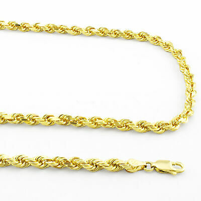 """Buy 10K Yellow Gold 4mm Italy Rope Chain Hollow Diamond Cut Pendant Necklace 16""""-30"""""""