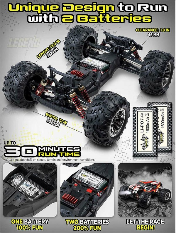 Buy 1:10 Scale Large RC Cars 48+ kmh Speed - Boys Remote Control Car 4x4 Off Road