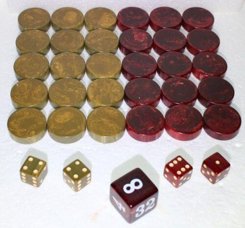 "Buy 1.25"" Crisloid Catalin Bakelite Cranberry Grey Backgammon Smooth Checkers-w Dice"