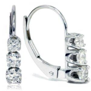 Buy 1/2ct 3 Stone Diamond Earrings 14K White Gold