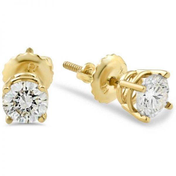 Buy 1/2ct Diamond Stud Earrings Solid 14K Yellow Gold Screw Back