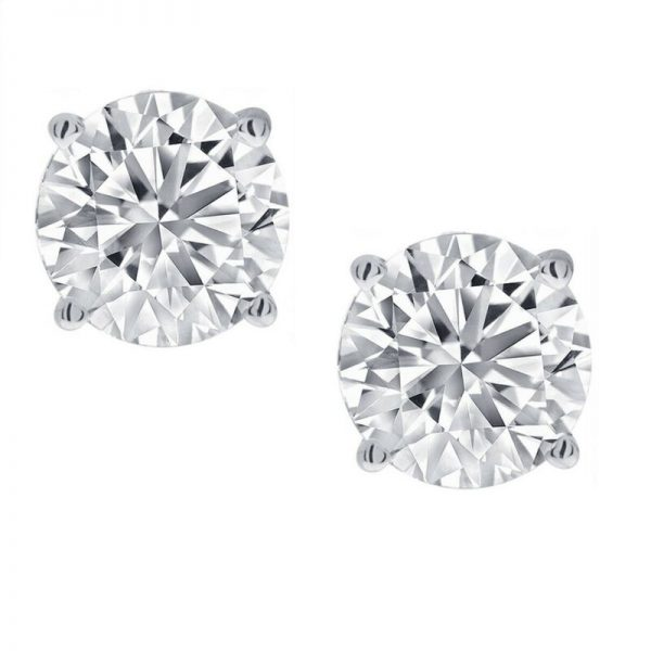 Buy 1/2ct Real (Natural) Round Diamond Solitaire Stud Earring set in 14K White Gold