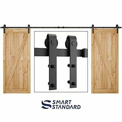 Buy 13 Feet Double Gate Heavy Duty Sliding Barn Door Hardware Kit (Frosted Black)