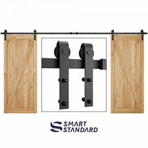 Buy 13 Feet Double Gate Heavy Duty Sliding Barn Door Hardware Kit (Frosted Black)