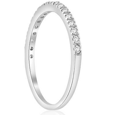 Buy 1/3 ct Pave Diamond Wedding Pave Ring Womens Stackable Band 14K White Gold