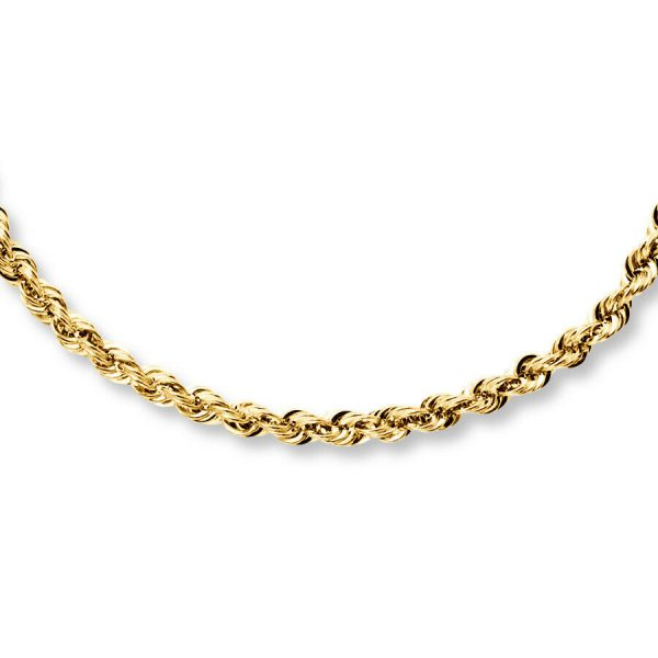 "Buy 14K Solid Yellow Gold Necklace Rope Chain 16'' 18"" 20"" 22"" 24"" 26"" 28"" 30"""