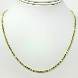 """Buy 14K Solid Yellow Gold Necklace Rope Chain 16'' 18"""" 20"""" 22"""" 24"""" 26"""" 28"""" 30"""""""