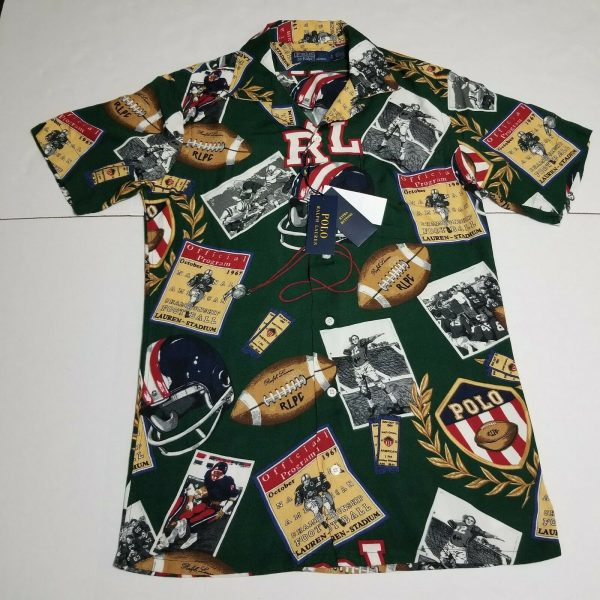 Buy $168 Polo Ralph Lauren Football Camp Button Down Shirt S NWT