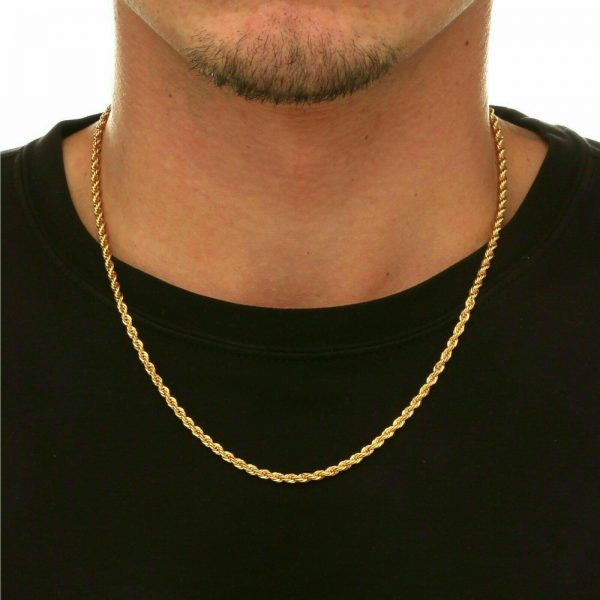 "Buy 18K Solid Gold Rope Chain Necklace Men Women 10"" 16"" 18"" 20"" 22"" 24"" 26"" 28"" 30"""