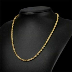 """Buy 18K Solid Gold Rope Chain Necklace Men Women 10"""" 16"""" 18"""" 20"""" 22"""" 24"""" 26"""" 28"""" 30"""""""