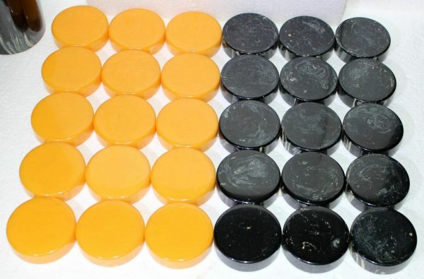 "Buy 2"" Crisloid Catalin Bakelite Black Lemon-Juice Backgammon Checkers - Six Cup Set"