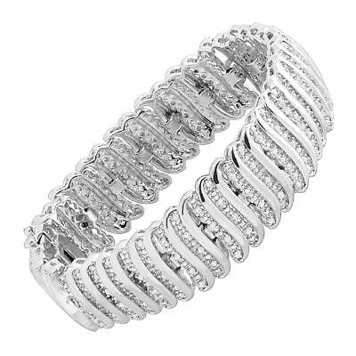 "Buy 2 ct Diamond 'S' Link Tennis Bracelet in Plated Brass, 7.5"""