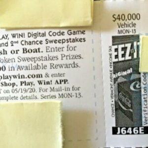 Buy 2020 Monopoly RARE Piece J646E $40k Vehicle of Choice *Safeway Albertsons Von's