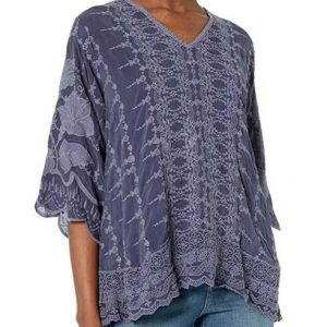 Buy $298 JOHNNY WAS HAKARU BLUE GRAVEL TUNIC BLOUSE EMBROIDERED TOP SZ L NWT