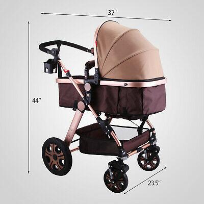 Buy 3 in 1 Luxury Foldable Baby Stroller High View Pram Pushchair Bassinet Car