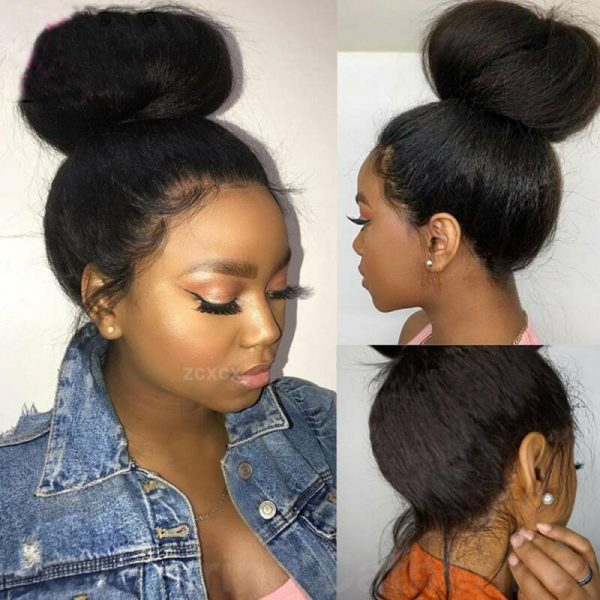 Buy 360 Lace Front Wig Yaki Kinky Straight 100% Indian Remy Human Hair Wig Baby Hair