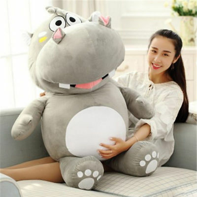 "Buy 47"" Plush Hippo Giant Soft Stuffed Cartoon Hippopotamus Doll Christmas Toys 2020"
