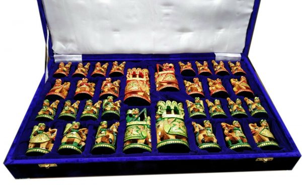 """Buy 5"""" Wooden Chess Set Hand Carved Painted Antique Vintage Indian Figure Chess Set"""
