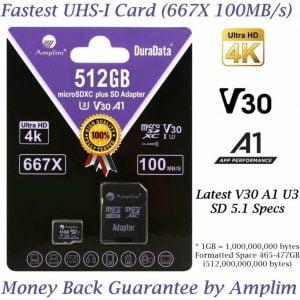 Buy 512GB 100MB s Pro Micro SD Card Plus SD Adapter Pack. Amplim 512 GB MicroSDXC