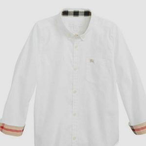 Buy $545 Burberry Fred Boys White Long-Sleeve Button Logo Cotton Top Shirt Size 14Y