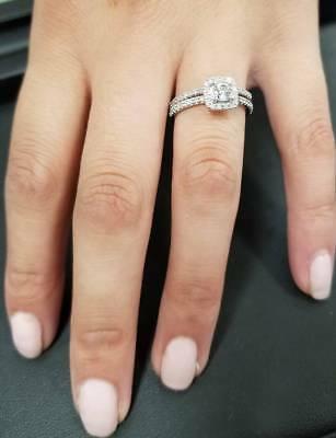 Buy 5/8Ct Cushion Halo Real Diamond Engagement Wedding Ring Set White Gold