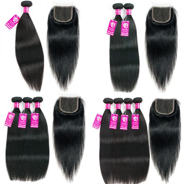Buy 8-30inch 4Bundles or with Closure Unprocessed Brazilian Virgin Human Hair THICK