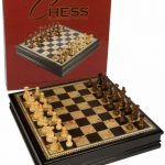 Buy Adrienne Chess Inlaid Burl Wood Board Game With Weighted Wooden Pieces, Extra La