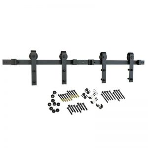Buy American Pro Decor Black Solid Steel Sliding Rolling Barn Door Hardware Kit For