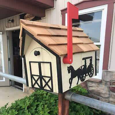 Buy Amish Mailbox with Horse and Buggy with Cedar Roof | Unique Rustic Outdoor Decor