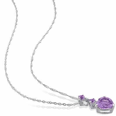 "Buy Amour 10k White Gold Diamond Amethyst Heart Pendant Necklace 17"""