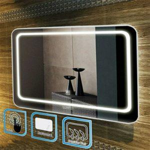Buy Anti-fog Bathroom LED Light Illuminated Mirror Wall Mounted Mirror 3 Brightness