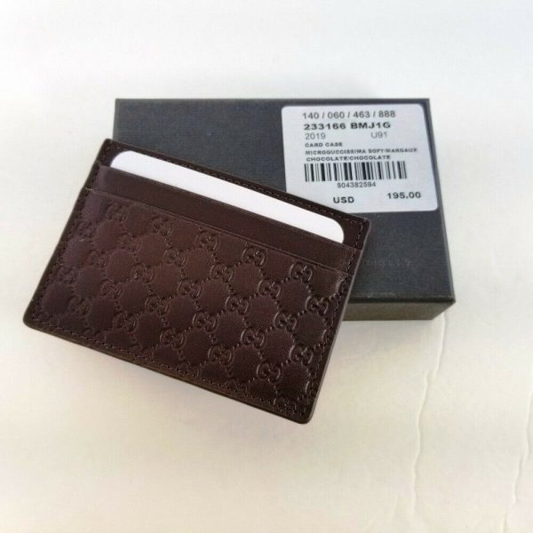 Buy Authentic Gucci Micro Guccissima Brown Leather Card Case Card Holder