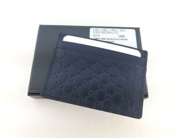 Buy Authentic Gucci Micro Guccissima Navy Blue Leather Card Case Card Holder