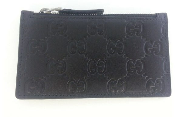 Buy Authentic Gucci Signature Guccissima Zip Black Leather Card Case Card Holder