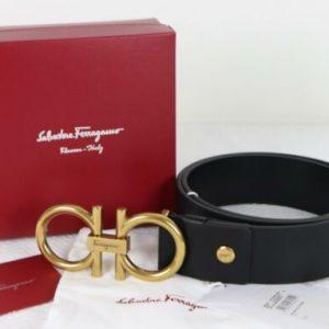Buy Authentic Men's Salvatore Ferragamo Calfskin Leather Belt GOLD Gancini Buckle