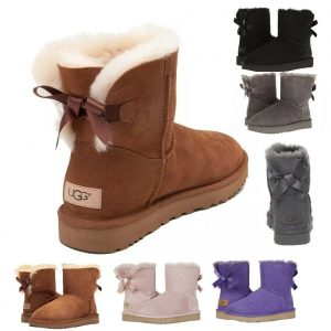 Buy Authentic UGG Women's Shoes Mini Bailey Bow Boot Chestnut Black Grey Pink New