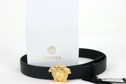 Buy Authentic Versace Palazzo Black Leather Belt with GOLD Medusa Head Buckle