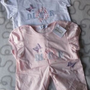 Buy BABY DIOR Rare Girl's Set of 3 Top Shirt Pants Set Butterflies SZ 24 Months NWT