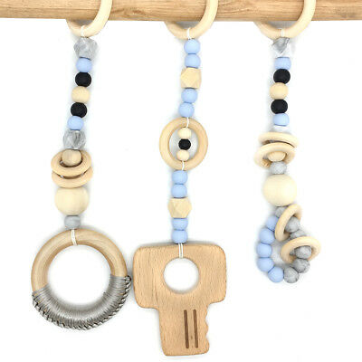 Buy Baby Wood Teether Play Gym Silicone Teething Beads Stroller Toys Wooden Rings !!