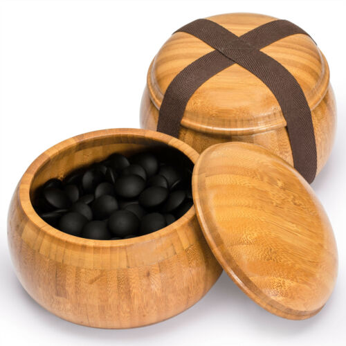 """Buy Bamboo 0.8"""" Etched Go Set w/ 9.2mm Double Convex Yunzi Stones & Bamboo Bowls"""