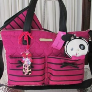 Buy Betsey Johnson Be Mine Baby Diaper Bag Tote Weekender 3 pc Quilted Hearts NWT