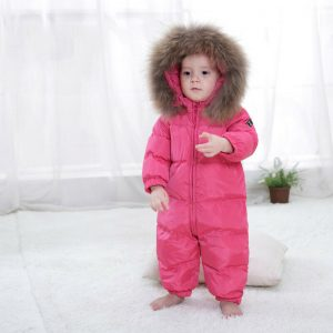 Buy Boys Girls Winter Overalls Baby Rompers Duck Down Jumpsuit Real Fur collar Thick